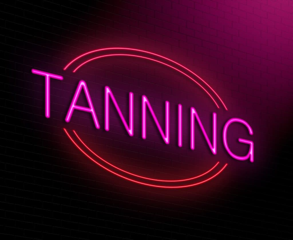 Illustration depicting an illuminated neon sign with a tanning concept.